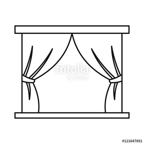 curtain outline quot stage curtains icon in outline style on a white