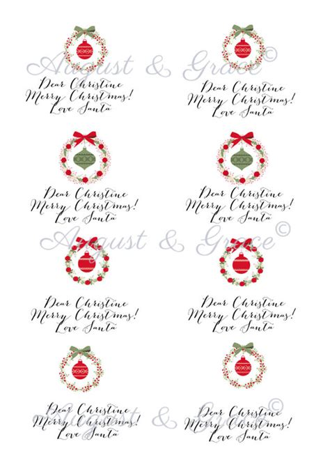 personalised christmas gift tag stickers baubles  lily summery notonthehighstreetcom