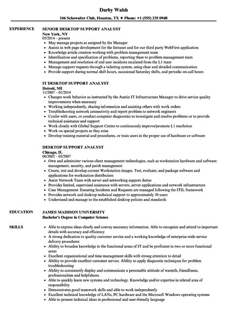 It Desktop Support Resume Great Sle Resume Desktop Support Analyst Photos