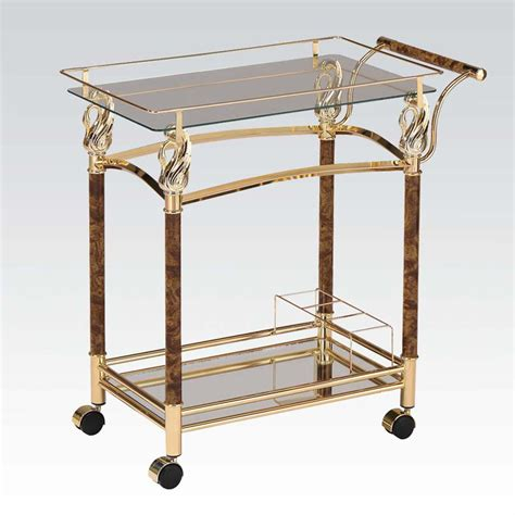Dining Room Serving Carts Kitchen Restaurant Dining Serving Cart Gold Plated Bottle Holder W Clear Glass Ebay