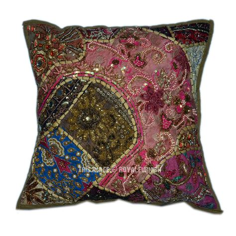 bead pillow 16 quot x16 quot green accent patchwork embroidered sequin indian