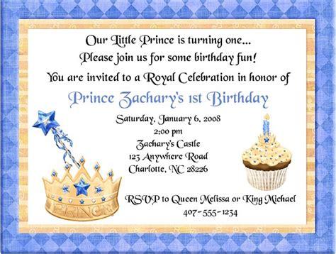 Prince Birthday Party Invitations   Prince   1st Birthday