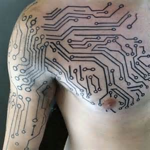 Masculine digital electronic circuit board chest and arm mens tattoos