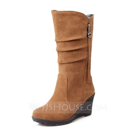Wedge Mid Calf Boots s suede wedge heel closed toe wedges mid calf boots