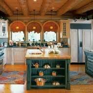 hint of green two tone kitchen with copper accents copper farm sink white painted wood log home kitchens pictures design ideas