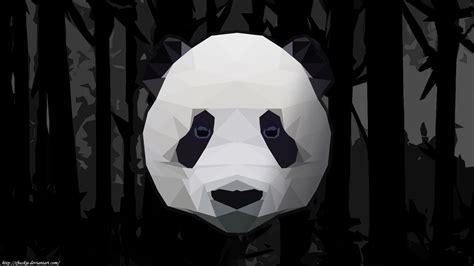 wallpaper black and white panda low polly panda bamboo wallpaper black and white by