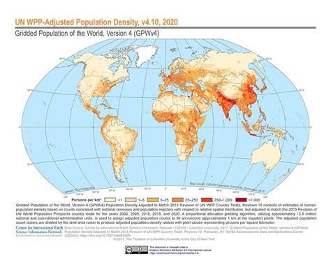 map of us adjusted for population maps 187 un wpp adjusted population density v4 10 sedac
