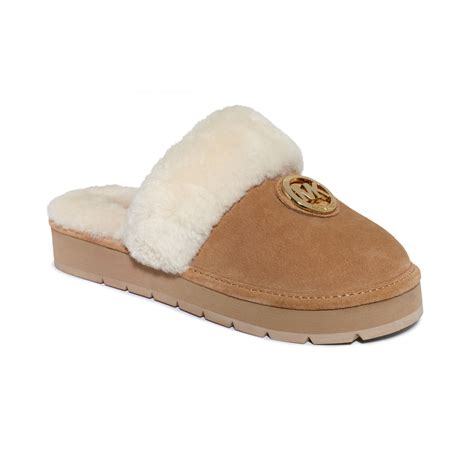 michael kors slippers michael kors winter fur slippers in brown walnut suede