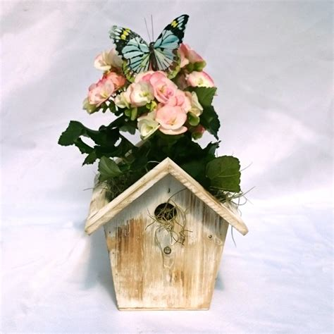 Birdhouse Planters by Blossoming Birdhouse Planter Hay Succulents