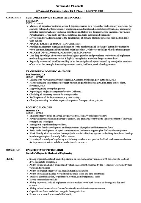logistic manager resume sles velvet