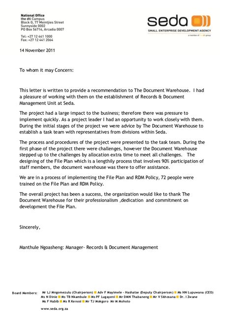Recommendation Letter Yahoo Answers letter to tdw recommendation 2011 seda