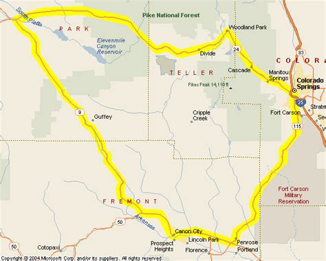 colorado springs routes map motorcycle colorado passes and canyons routes and
