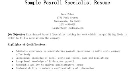 Payroll Specialist Resume by Resume Sles Sle Payroll Specialist Resume
