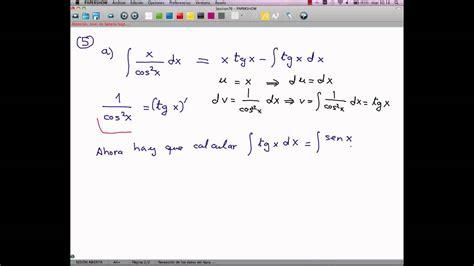 derivada de coseno cuadrado integral por partes con coseno cuadrado en denominador