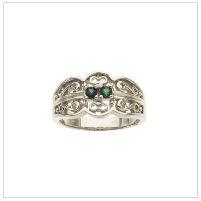 10kt white gold scroll pattern mothers rings with finely