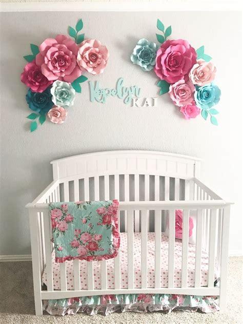 Aqua Floral Nursery Paper Flowers Floral Arrangement Baby Crib Decor