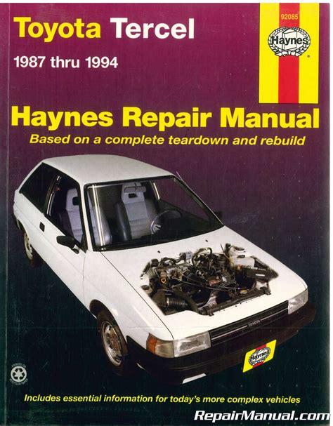 car repair manuals online free 1998 toyota tercel instrument cluster haynes toyota tercel 1987 1994 auto repair manual