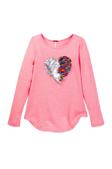 Target Mirrors Poof Long Sleeve Tee With Reversible Sequin Heart Big