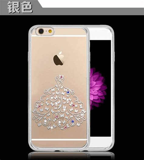 Iphone 6 Plus Soft Sheep Skin Free 2pcs Colour gold plating frame clear tpu for iphone 6 6s