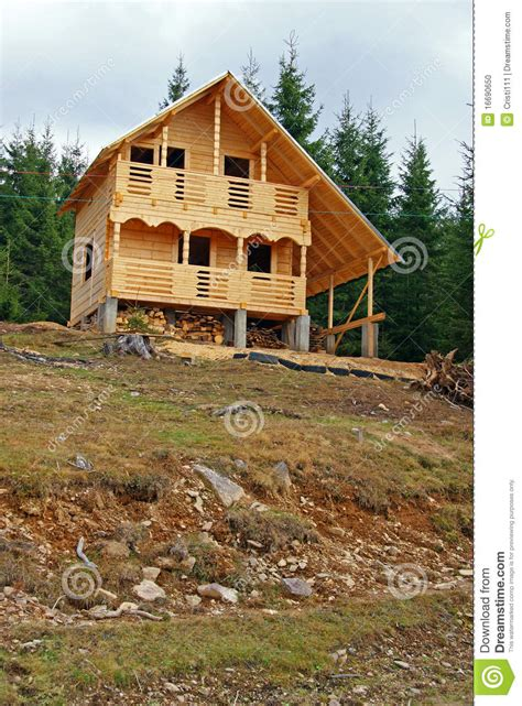 wooden cottage in construction stock photo image 16690650