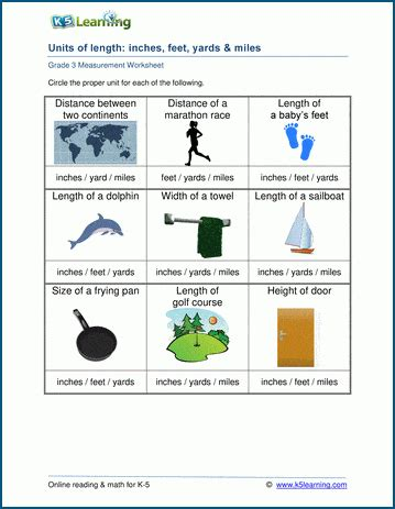 math worksheets units  length inches feet yards