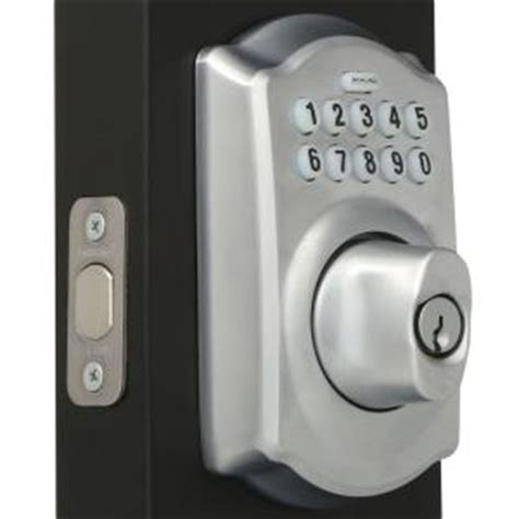 schlage camelot keypad deadbolt in satin chrome be365