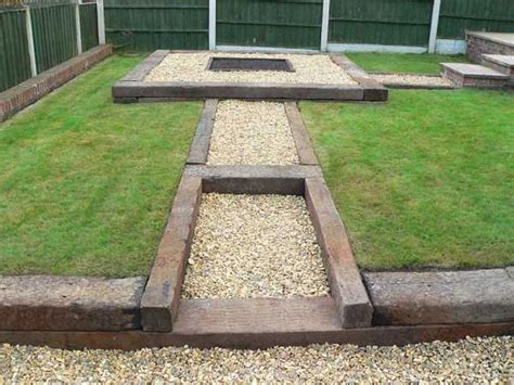 Garden Designs With Sleepers by Used Railway Sleepers Patio