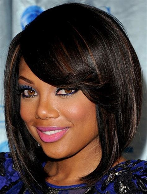 short haircuts for black women with a swoop in the front short layered haircuts for black women