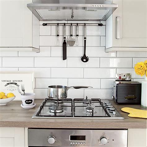 White Metro Tiles Kitchen - white kitchen with metro tiles and stainless steel cooker housetohome co uk