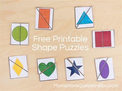 printable puzzle shapes 2 part shape puzzles moms have questions too