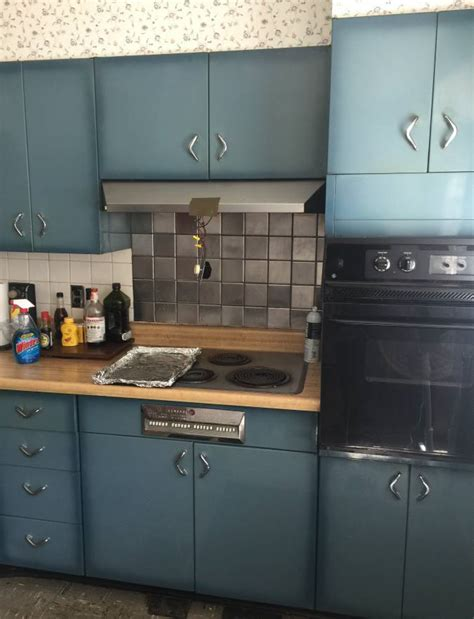 burnt blue youngstown steel kitchen cabinets