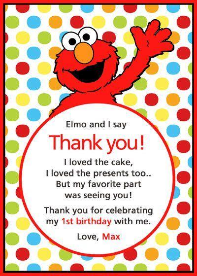 Elmo Birthday Card Template by Elmo Thank You Card Wyatt S Bday