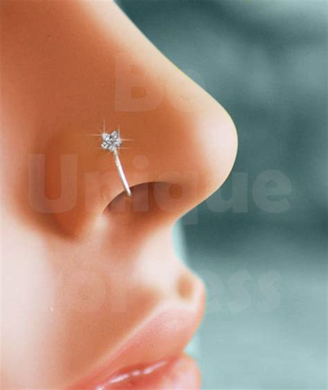 details about small thin flower clear nose ring