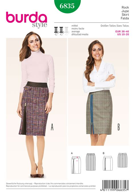 skirt pattern burda burda 6835 skirts sewing pattern