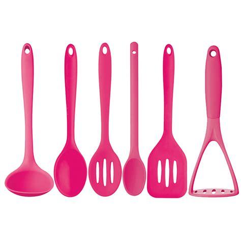 Pink Kitchen Utensils new kitchen craft pink 6 pc silicone cooking utensils