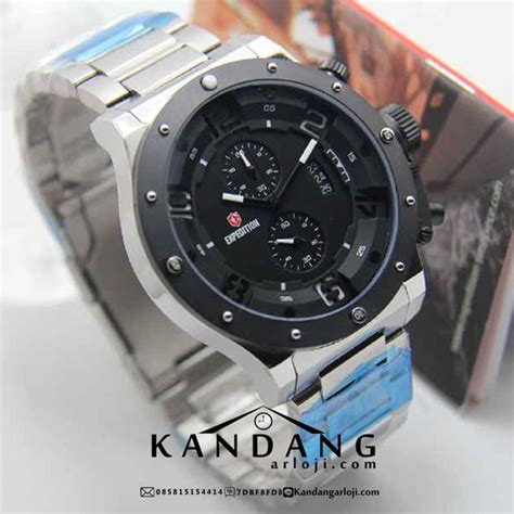 Jam Tangan Pria Expedition 6381 Silver Black Original Murah jual expedition e6381 rantai silver original