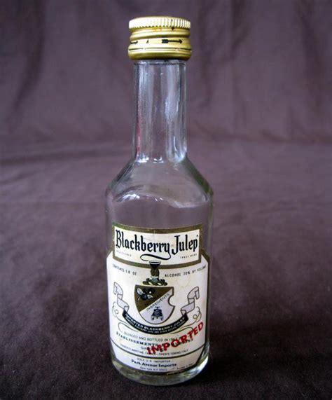 vintage mini liqueur liquor bottle empty blackberry julep