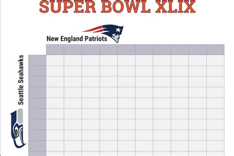 Super Bowl 2015 Squares Printable Boxes Document For Office Pool And Football Game Party Bowl Box Template
