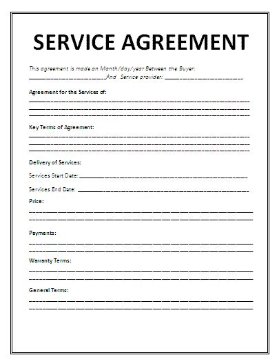 Template Service Agreement service agreement template agreement sample templates