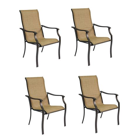 Sling Patio Chairs Stackable Shop Garden Treasures Set Of 4 Eastmoreland Textured Brown Sling Steel Stackable Patio Dining