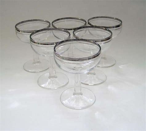 Silver Rimmed Bar Glasses Vintage Wine Glasses Set Of 6 Silver Rimmed Martini