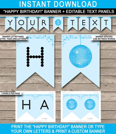 Letter Banner Happy Birthday Rumbai banner template blue disco birthday banner editable bunting