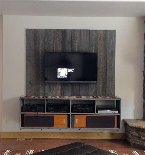 floating industrial barnwood entertainment center diy
