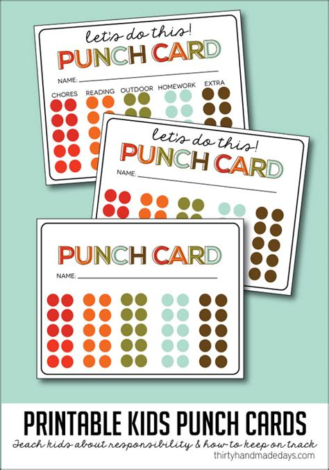 attendance punch card template 15 easy chore charts