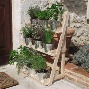Wall Pot Stand 3 Tier Wooden Flower Stand Herb Plant Pot Shelves Garden