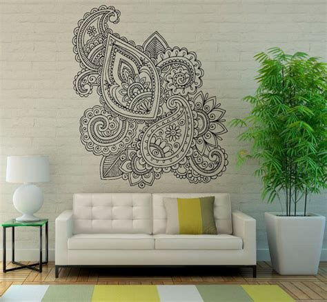 henna design wall decals mehndi wall vinyl decal mandala lotus stickers art design