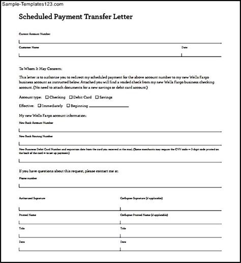 Payment Transfer Letter Format Scheduled Payment Transfer Letter Template Editable Pdf Sle Templates