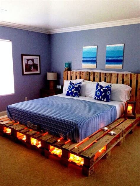 homemade pallet bed   lighting pallet bed