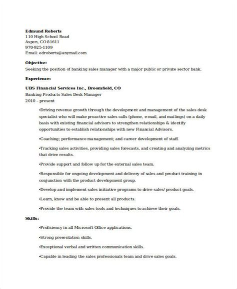 sle of resume for banking banking resume sles 45 free word pdf documents