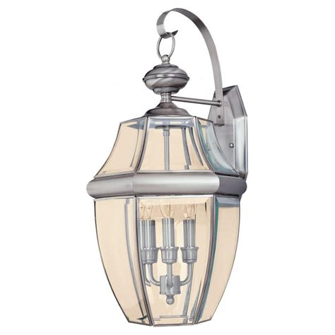 Seagull Light Fixtures Sea Gull Lighting Lancaster 3 Light Antique Brushed Nickel Outdoor Wall Fixture 8040 965 The